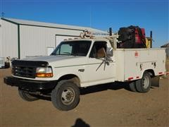 1997 Ford F Super Duty Service Truck With Auto Crane, Knapheide Service Bed